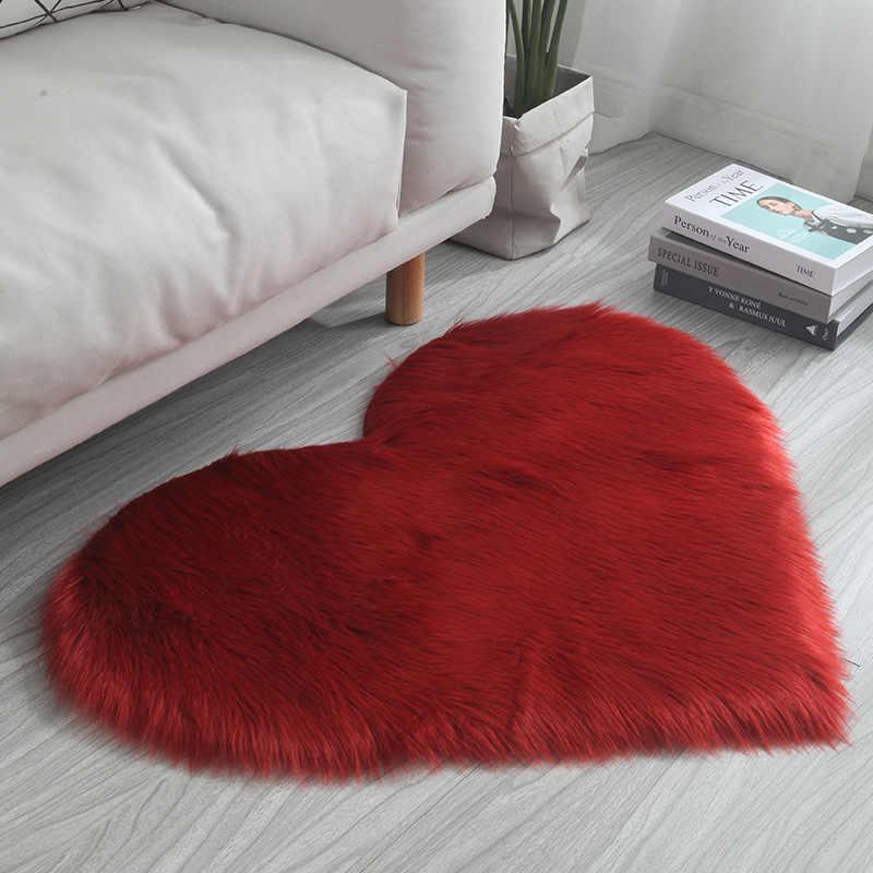 높은 품질 봉 제 인공 양모 양탄자 침실 거실 키즈 룸에 대 한 털 복 숭이 사랑 심장 층 지역 카펫 무성한 카펫 매트