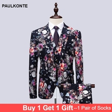 PAULKONTE Man Mostly Male Dress Jacket Blossoms Printing Floral Suits Blazer Luxury Brand Casual Blazers Classic Mens