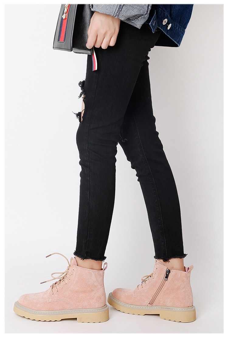 Ботинки martin 2018 г., новые осенние женские ботинки в стиле ретро женские матовые ботинки с высоким берцем на шнуровке