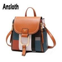 цены Ansloth Casual Plaid Backpack For Teenager Girls Quality PU Leather Bag Pack Women Small Shoulder Bag Ladies School Bag HPS619