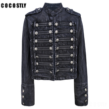 Retro military style handsome stand collar jeans jacket women double-breasted ol