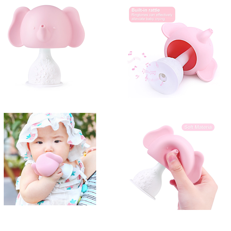 Stereoscopic Elephant Teether Baby Silicone Teether Rattle Toys 0-12 Months Infant Teether Educational Toy Newborns Chewable Toy