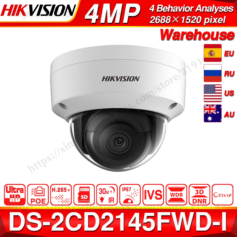 Hikvision DS 2CD2145FWD I POE Camera Video Security 4MP IR Network Dome Camera 30M IR IP67 IK10 H.265+ SD card slot-in Surveillance Cameras from Security & Protection