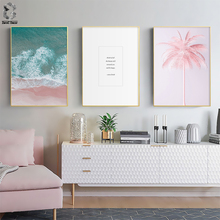 Scandinavian Tropical Landscape Posters Modern Prints Pink Sea Beach Quotes Wall Art Canvas Painting Nordic Decoration Pictures