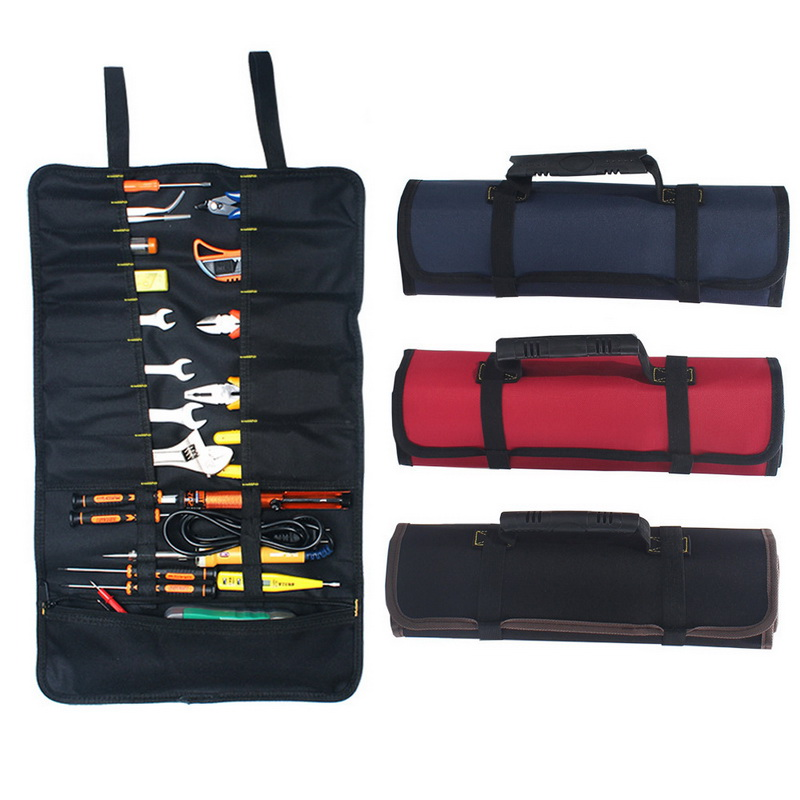Urijk Multifunction Tool Bags Practical Carrying Handles Roller Bags Oxford Canvas Chisel Electrician Toolkit Instrument Case