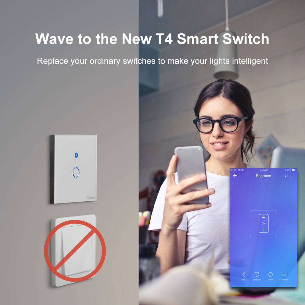 Sonoff T4EU1C Wifi Muur Touch Switch 1 Gang Eu Geen Neutrale Draad Nodig Schakelt Smart Enkele Draad Muur Switch Werkt met Alexa 4