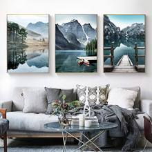 Nature Scenery Poster Lake Mountain Reflection Wall Art Canvas Painting Nordic Print Scandinavian Wall Picture Living Room Deocr(China)