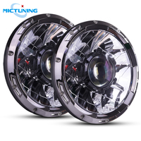 MICTUNING 7'' Upgraded Car LED Driving H4 Headlights with Laser Light 10 30V 6000K Highspeed Spot Combo Lamps for Jeep Wrangler