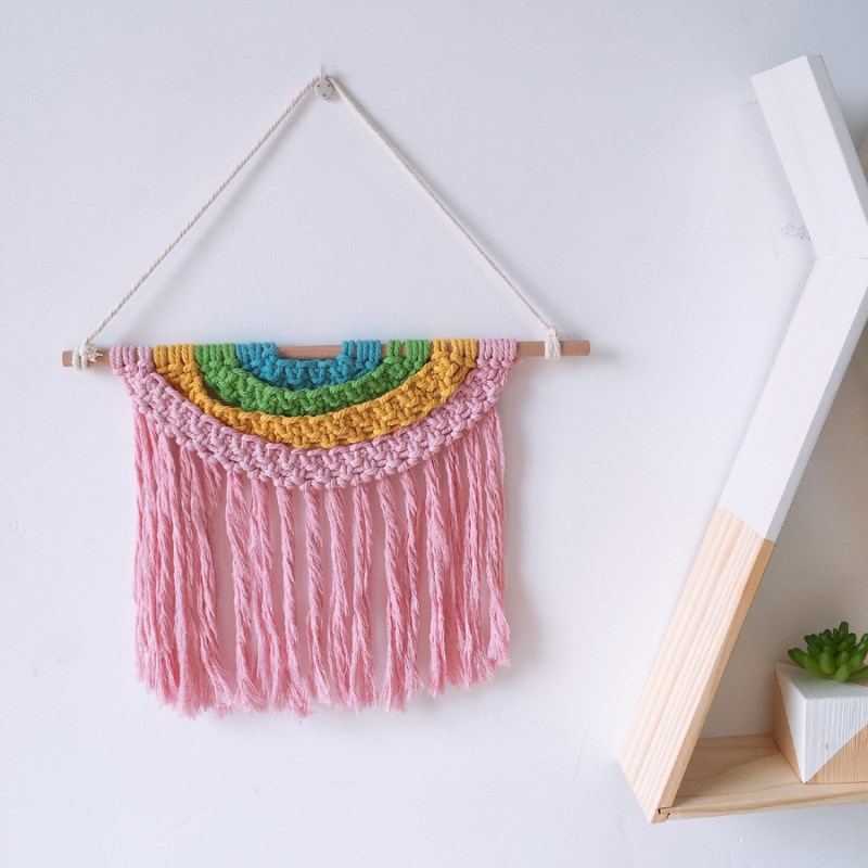 Hand Knitted Tassel Tapestry Cotton Rope Fringed Bunting Bohemia Macrame Tapestries Wall Hanging Ornaments Kids Room Decorations