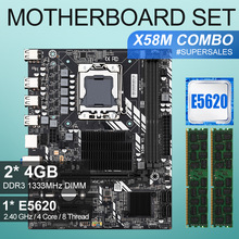 X58 scheda madre desktop LGA1366 set kit con Processore Intel xeon processore E5620 e 8Gb\u00282pcs * 4GB\u0029 ECC DDR3 1333mhz di memoria RAM