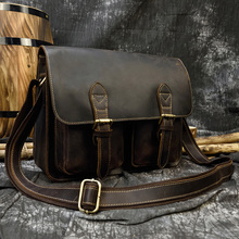 Vintage Genuine Leather Men Bags A4 Crazy Horse Leather Male
