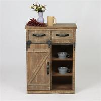 32'' Retro Vintage Barn Door Living Room Cabinet Wood End Table Wood Console Cabinet Farmhouse Storage Cabinet Furniture