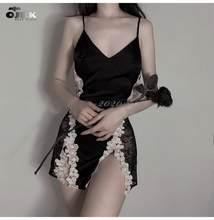 OJBK ipek gecelik yaz elbisesi dantel sıcak gece DressWomen seksi iç çamaşırı pijama Babydoll Nightie saten gecelik kıyafeti