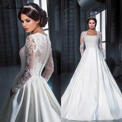 Винтажное атласное свадебное платье трапециевидной формы с рукавами, Vestido, свадебное платье принцессы 2020, кружевное платье с аппликацией, ...