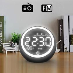 Перезаряжаемый двойной будильник, радио, Bluetooth динамик, будильник, Fm-радио, носветильник, температура, время, светодиодный дисплей для дома
