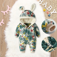 Baby Girl Clothes Hooded Rabbit Ear Baby Romper Costume Coat Zipper Floral Print Infant Winter Warm New Born Baby Boy Clothes