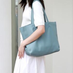 Image 3 - ผู้หญิงหรูหรากระเป๋า Casual Tote หญิง Light Blue แฟชั่นไหล่กระเป๋าถือ Lady Cowhide หนังแท้กระเป๋าสะพายกระเป๋า
