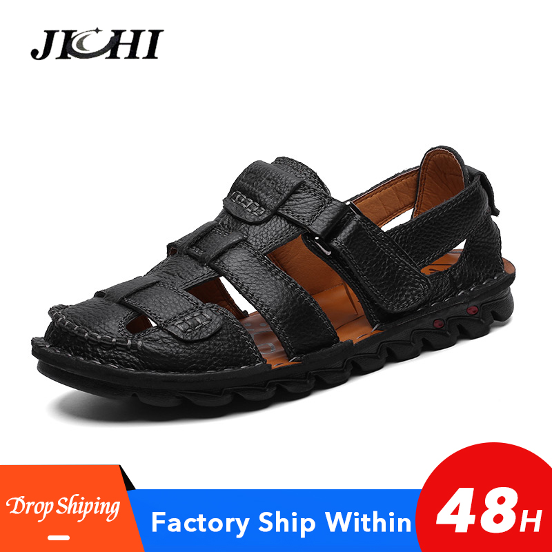 2020 Classic Mens Sandals Summer Genuine Leather Sandals Men Outdoor Casual Lightweight Sandal For Men Soft Fashion Large Size