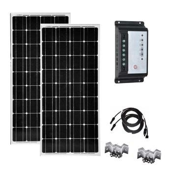 Waterproof solar Kit 200w Solar Module 100W 12V Monocrystalline Solar Charge Controller 12v/24v 20A Portable Caravan Car Camping