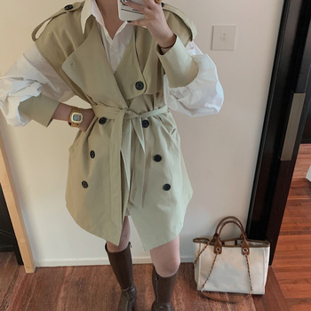 [EWQ]Long-sleeved Shirt Casual Double-breasted Trench Coat 2021 Autumn Loose Ladies Clothing Windbreaker Chic Ladies 2-piece Set 1