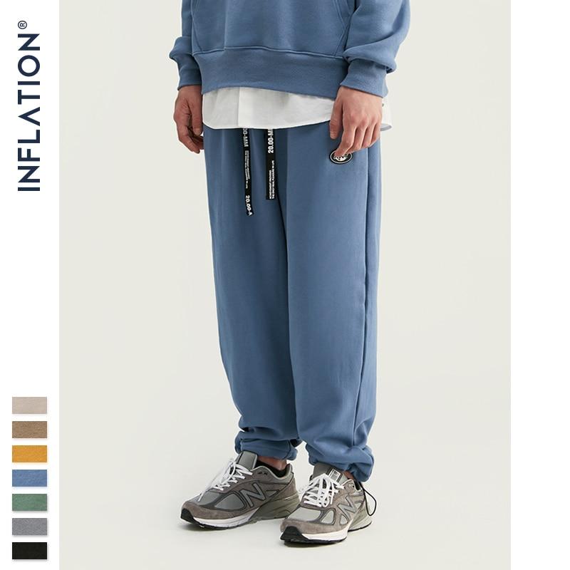 INFLATION DESIGN Super Loose Fit Men Sweatpants In Pure Color Loose Fit Retro Style Mens Sweatpants Street Wear Men Pants 93402W