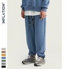 Şişirme tasarım süper gevşek Fit erkekler Sweatpants saf renk gevşek Fit Retro tarzı erkek Sweatpants sokak giyim erkek pantolon 93402W