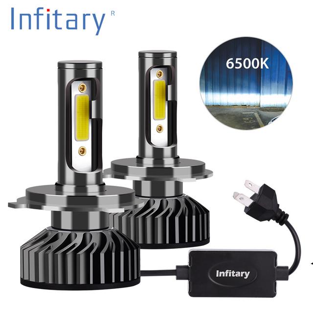 Infitary H7 H4 Car LED Headlight Bulbs H1 H11 H3 H27 880 9005 9006 9007 72W 10000LM 6500K 12V Auto Mini Headlamp COB Fog Light