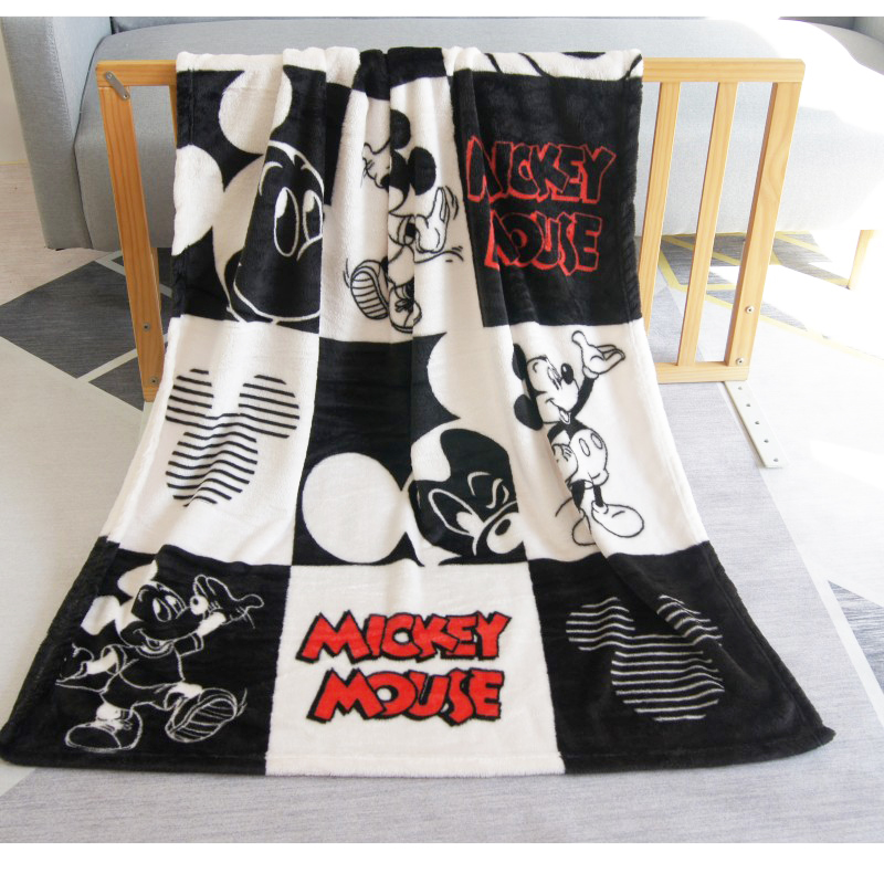 Disney Latest Mickey Mouse Black White Soft Coral Blanket Throw 100x140cm For Girls Boys Children Kids Gift Bedroom On Bed Sofa