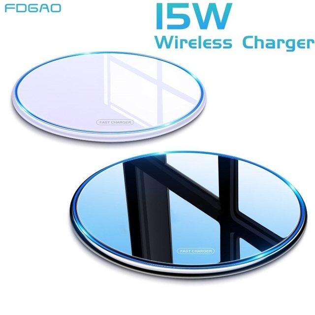 FDGAO 15W Fast Wireless Charger For Samsung Galaxy S20 S10 S9 Qi Induction Charging Pad for iPhone 12 Mini 11 Pro XS Max XR X 8 1