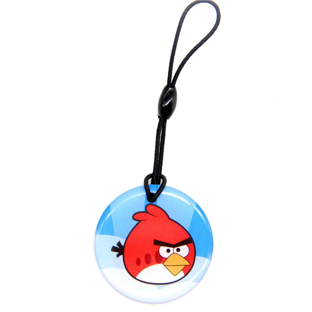 1pcs Circular Angry Birds UID 13.56Mhz Keyfob Keychain Changeable 1K S50 NFC RFID Rewritable Writable IC Card Key Tags