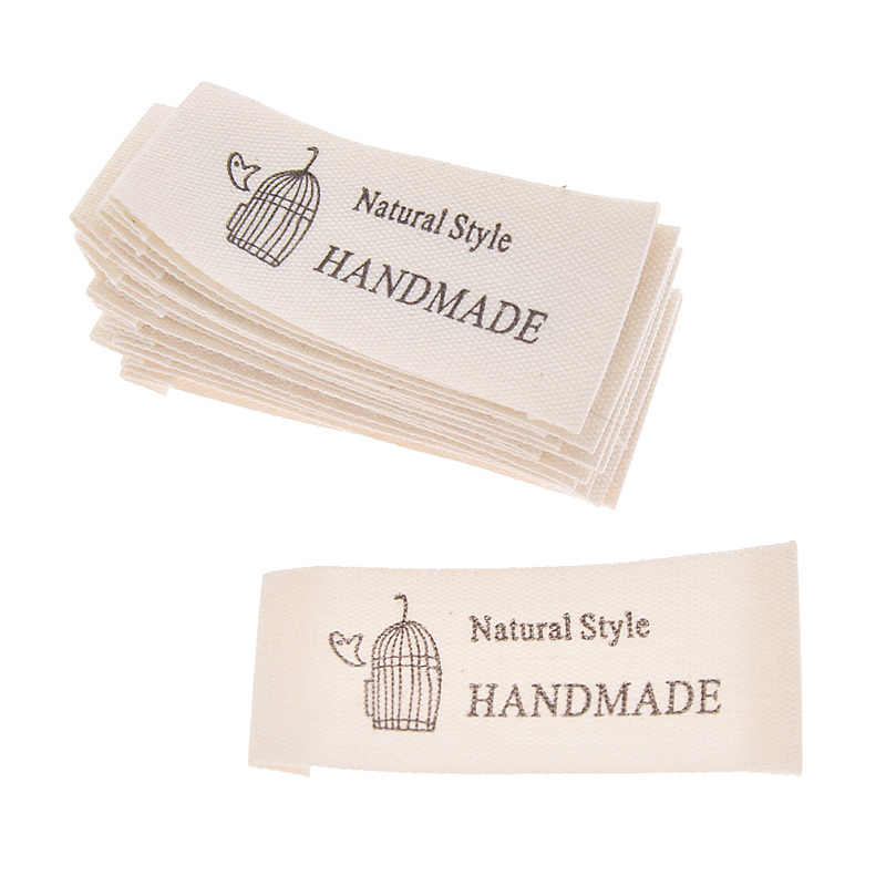 CHZIMADE 50pcs Cotton Handmade Tag Label Woven Sewing Label Knitting Tags for Sewing Craft Handmade Supplies