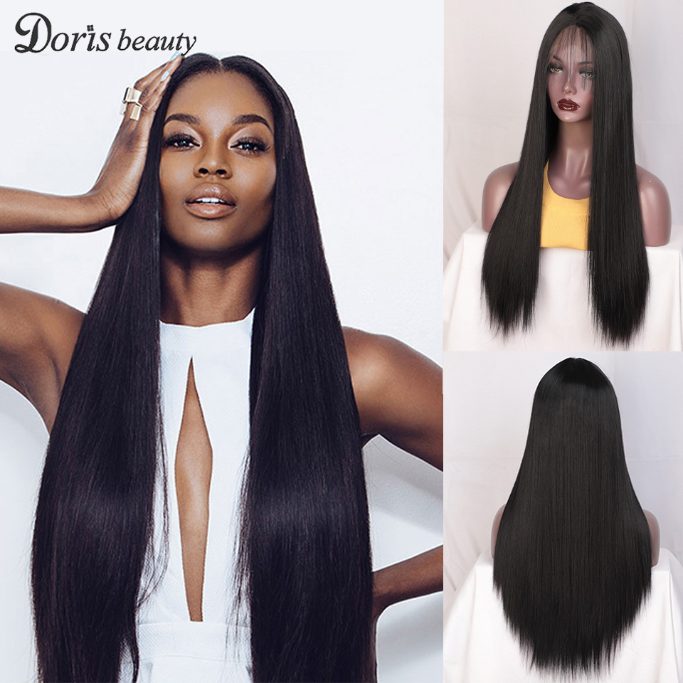 Doris Beauty Synthetic Lace Front Wig Black Long Straight Wigs For Women With BabyHair Purple Blonde Red Pink Wig