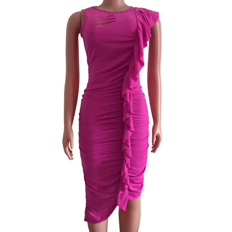 Gül kırmızı Casual kolsuz elbise oymak O boyun asimetrik orta buzağı dökümlü fırfır asimetrik elbiseler streetwear