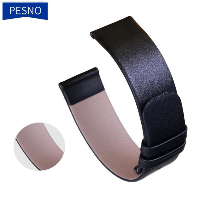 Pesno جلد طبيعي حزام (استيك) ساعة ساعة سوداء حزام 12 16 18 20 24 مللي متر مناسبة ل رادو Esenza حزام سوار للرجال والنساء