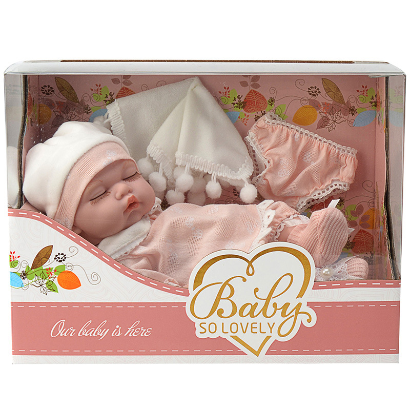 New Products Children 10-Inch Model Primary Doll PVC Doll Sleeping Face Infant Soft Silcone Doll Model Toy