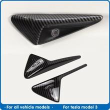 FDIK 2Pcs/Set For Tesla model Three S X model3 Side camera carbon fiber ABS protection cover For Tesla model 3 Car Accessories