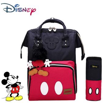 Disney 3D Doll Classic Minnie Mickey torba na pieluchy dla mamy wodoodporny plecak dla matki opieka nad dzieckiem torba na pieluchy wózek o dużej pojemności tanie i dobre opinie CN (pochodzenie) Denim zipper (30 cm Max Długość 50 cm) 16cm 26cm 40cm Mickey Minnie diaper bag waterproof baby diaper bag backpack maternity