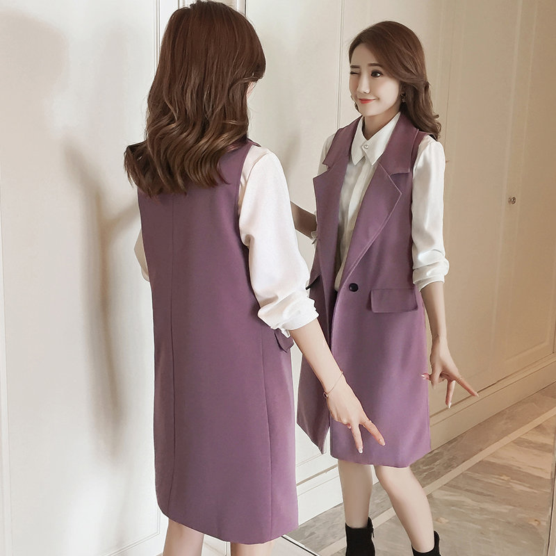 Elegant Long Vest Women 2020 New Spring Turn-down Collar Buttons Sleeveless Jacket Female Korean Slim Coat Plus Size Waistcoat