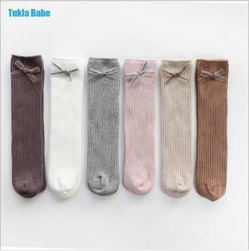 1-8Y 2021 New children's socks double needle bowknot girls socks boneless loose mouth combed cotton baby tube socks 1