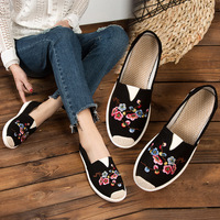 2020 Women Loafers Casual Flats Slip On Female Shoes Ethnic Style Embroidered Ladies Flat Shoes White zapatos mujer 1