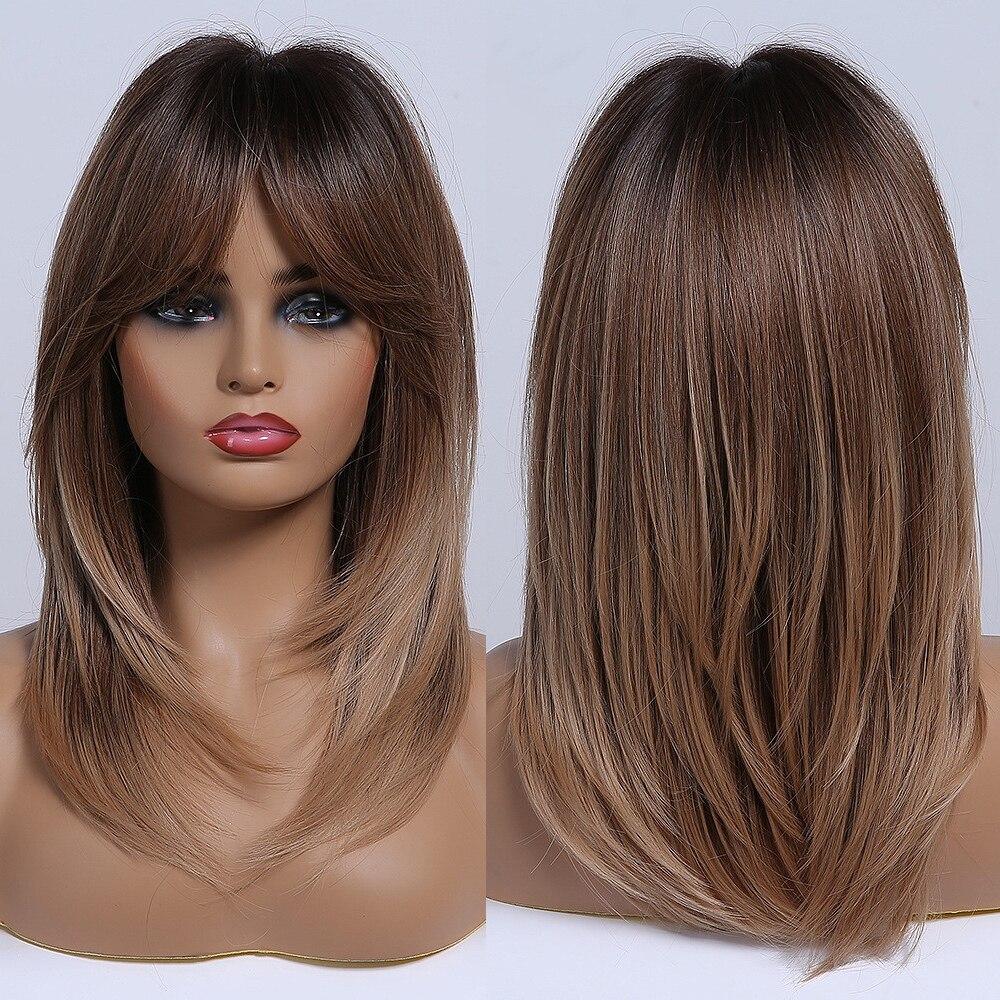 Парики из волнистых коричневых синтетических волос средней длины с волнистыми слоями Омбре для женщин афро с челкой, модные парики для косп...