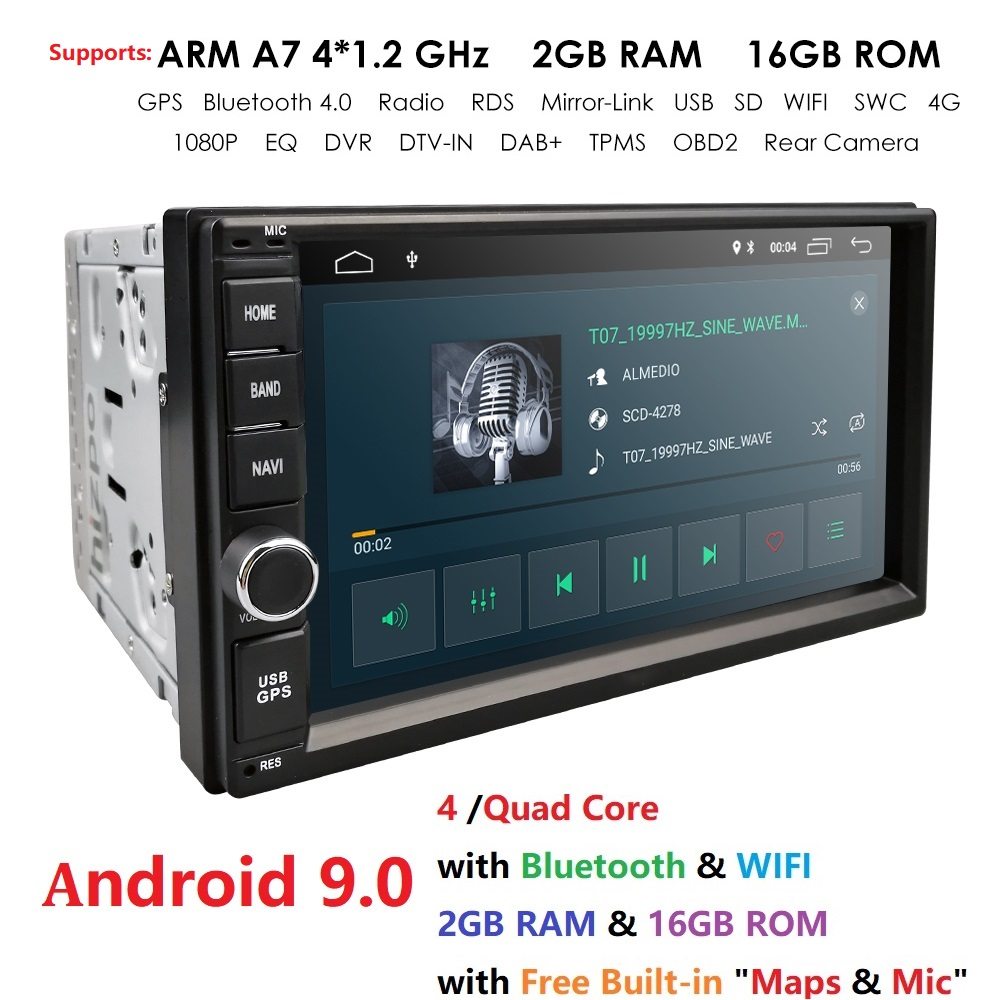 2 Din 7'' Quad core Universal Android 9.0 2GB RAM Car Radio Stereo GPS Navigation WiFi 1024*600 Touch Screen 2din Car PC USB Map image