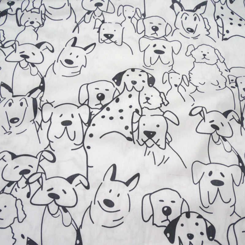 DIY Patchwork Kain Katun Bayi Anak Kapas Kain Jahit Rumah Tangga Supply untuk Latar Belakang Tirai Lembar Cetakan Anjing & Dot
