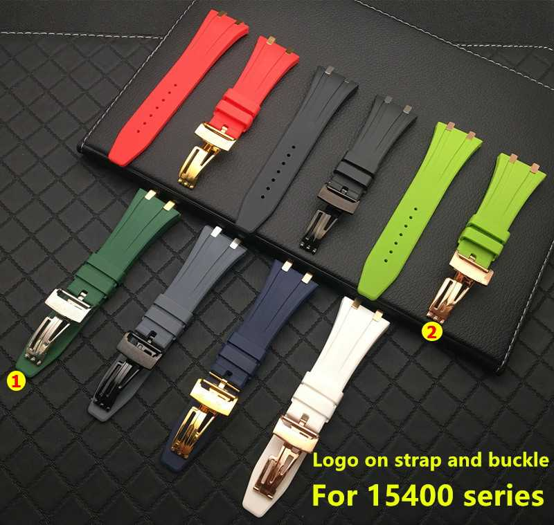 Soft 26mm 27mm Silicone rubber watchband for AP Strap Buckle for Audemars And Piguet watch band for 15400/26470/15703 hooks