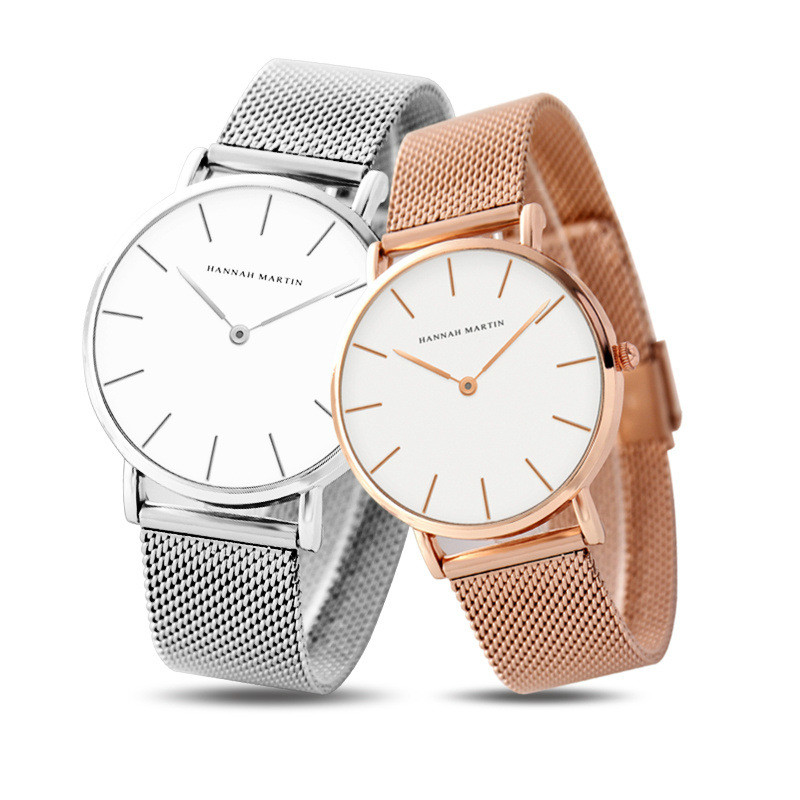 Men's And Women's Couple  Simple Watch Stainless Steel Mesh Strap Student Valentine's Day Waterproof Watch Couple Gift Casual 19