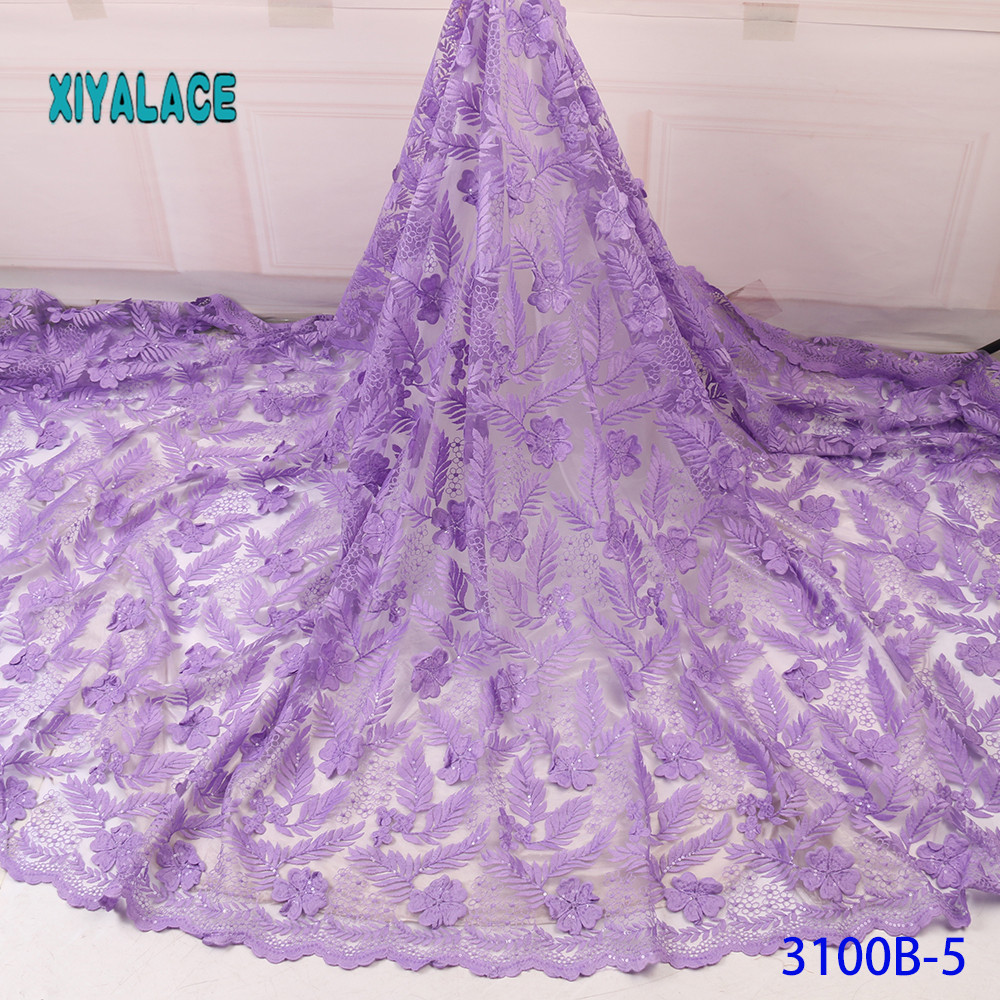 BEAUTIFICAL 3d Lace Flowers Latest Nigerian Lace Styles French Party Lace Fabrics 5 Yards 2019 Tulle Fabric YA3100B-5