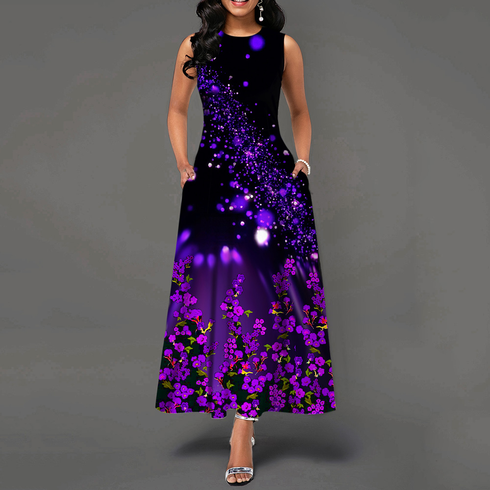 Floral Print Sleeveless Round Neck Vintage A Line Women Maxi Dress Female Retro Standard-Waist Dress 2019 Autumn Winter Hot Sale