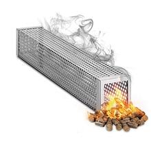 12 polegadas quadrado churrasco tubo de fumaça churrasco ferramentas aço inoxidável churrasco grill quente frio fumar malha tubo fumado churrasco fumante