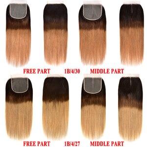 Image 4 - Honey Blonde Ombre Straight Hair Bundles With Closure Human Hair 3 4 Bundles With Closure Remy Brazilian Hair Weave Bundles