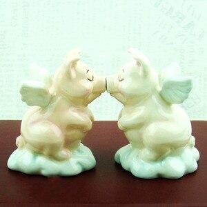Botella de condimento de cerámica lindo cerdo Ángel oso creativo novedad regalo de boda especias tarro herramienta de almacenamiento para la cocina sal botella pimienta